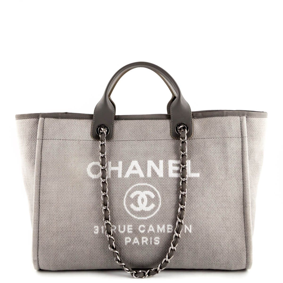 Chanel Grey Canvas Large Deauville Tote Chanel Tote Chanel Deauville Tote Bag