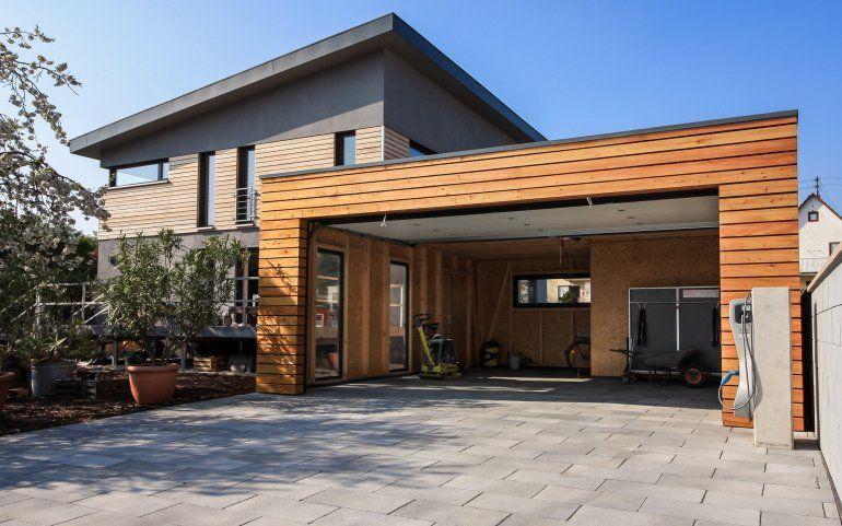 Flachdach Holzgarage In 2020 Modern Barn House Wooden Garage Carport Garage