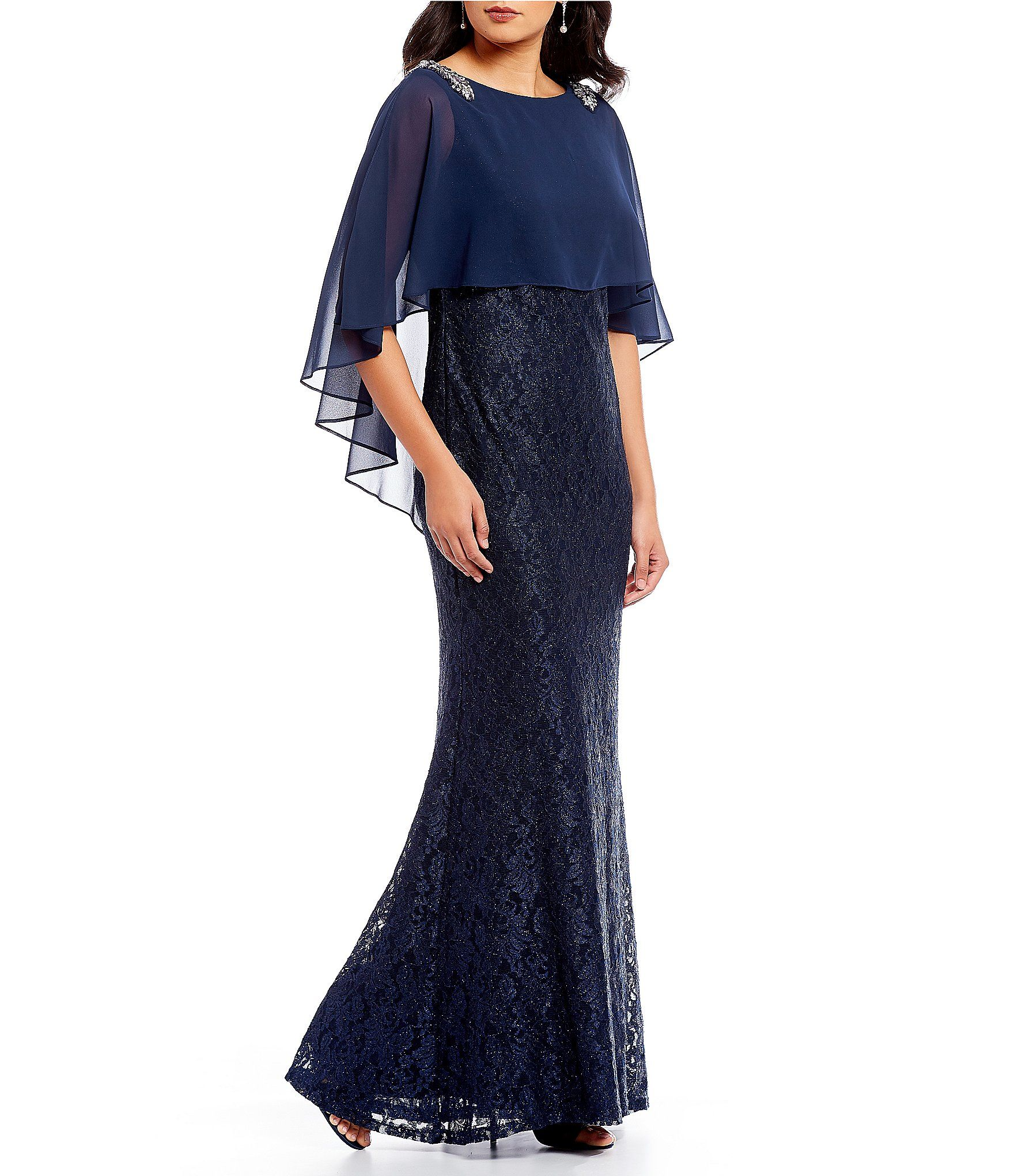 87cb3e96c8 Shop for Emma Street Glitter Lace Chiffon Embellished Cape Overlay Gown at  Dillards.com. Visit Dillards.com to find clothing