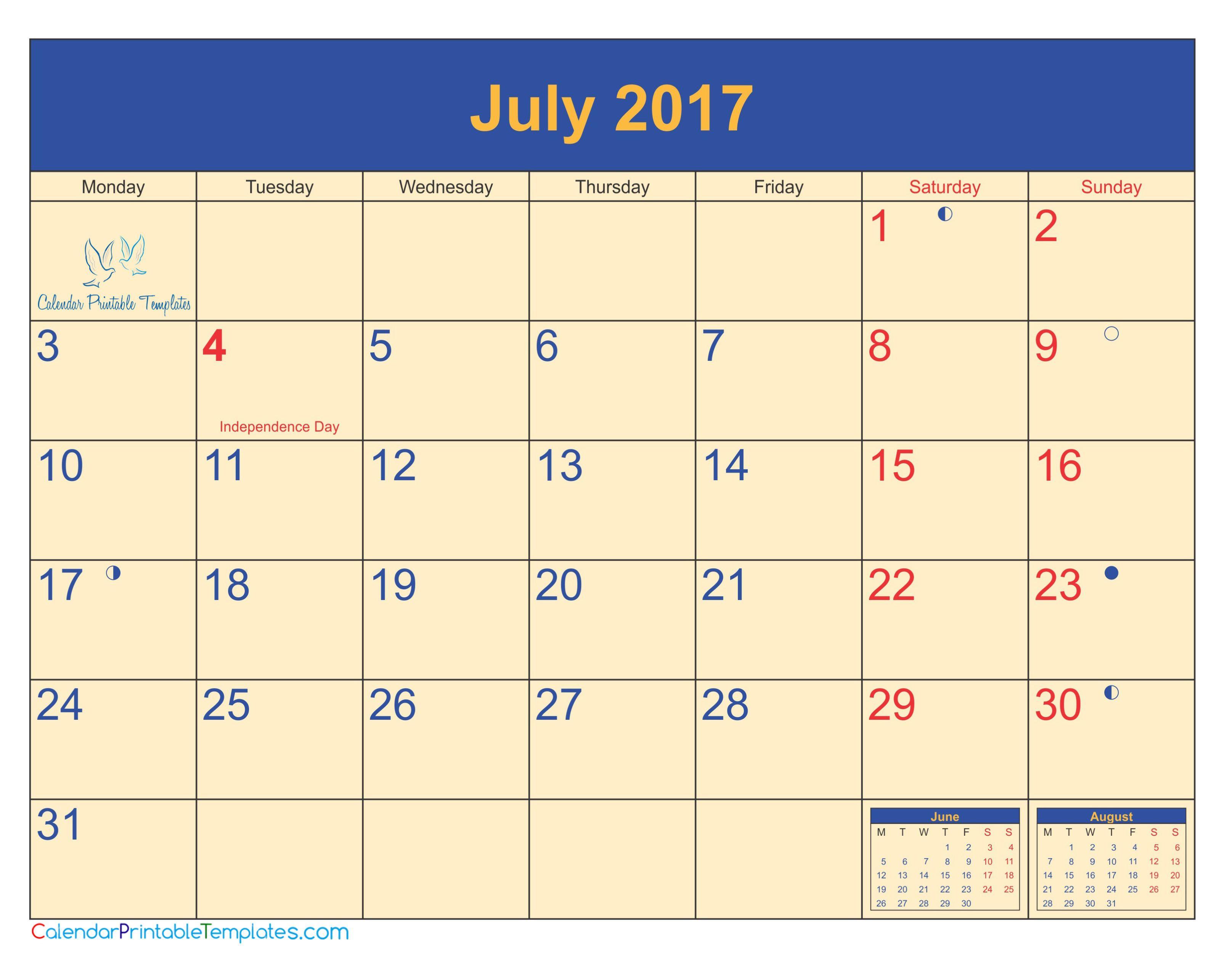 July 2017 calendar pdf http://www.calendarprintabletemplates.com ...