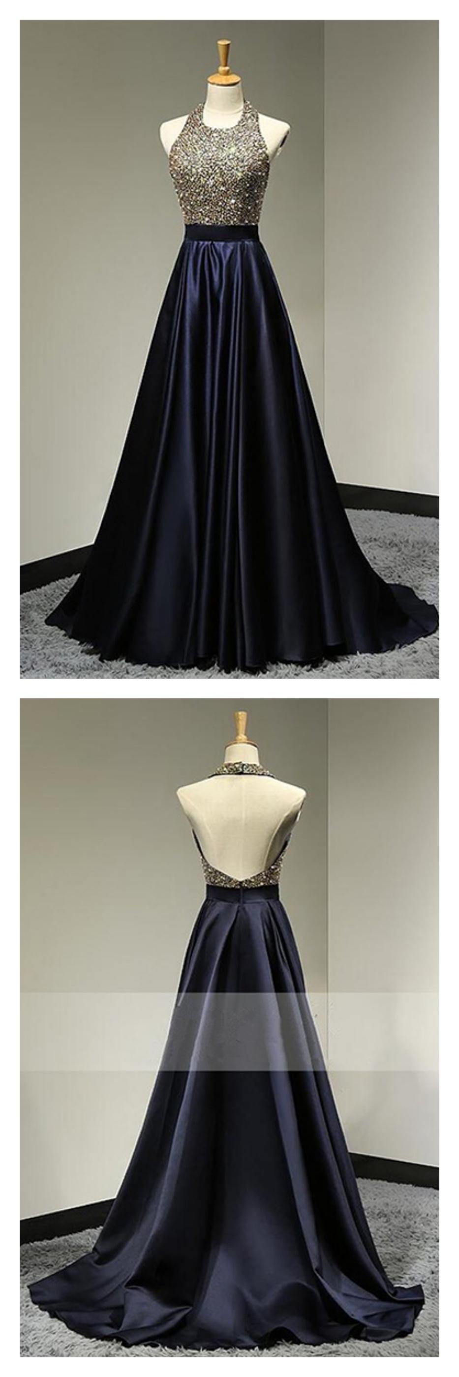 Halter beading bodice backless long satin prom dresses evening