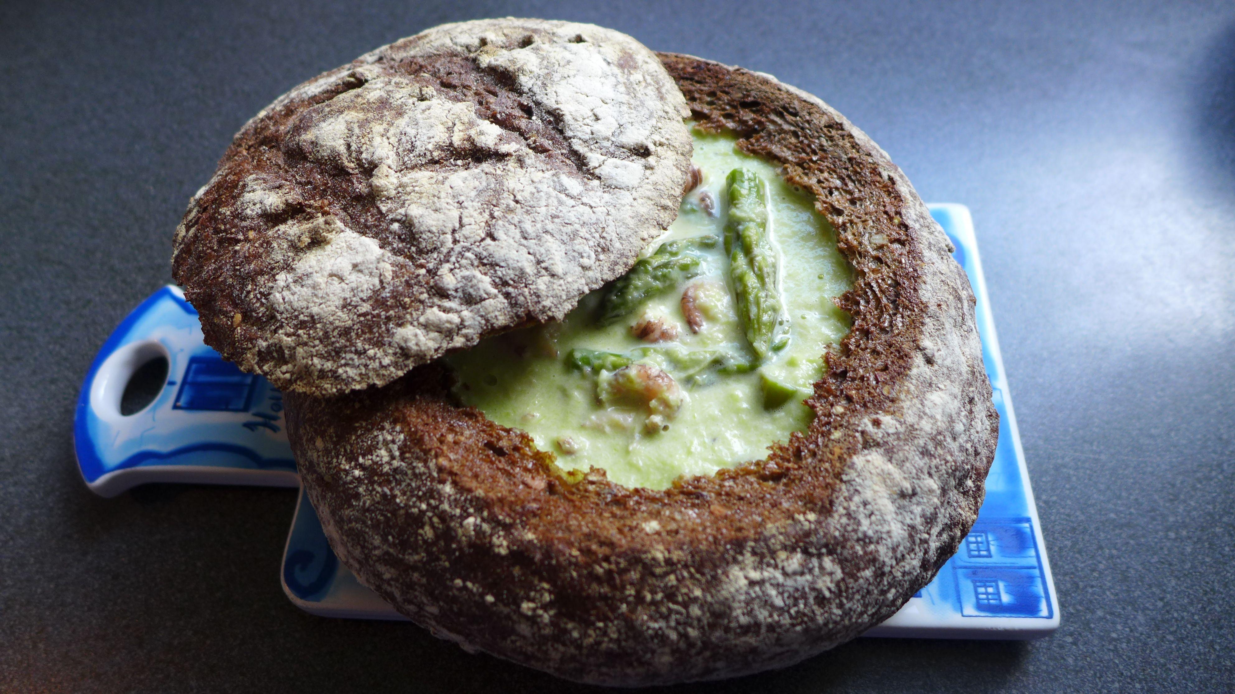 Спаржевый крем-суп с креветками, быстрый рецепт