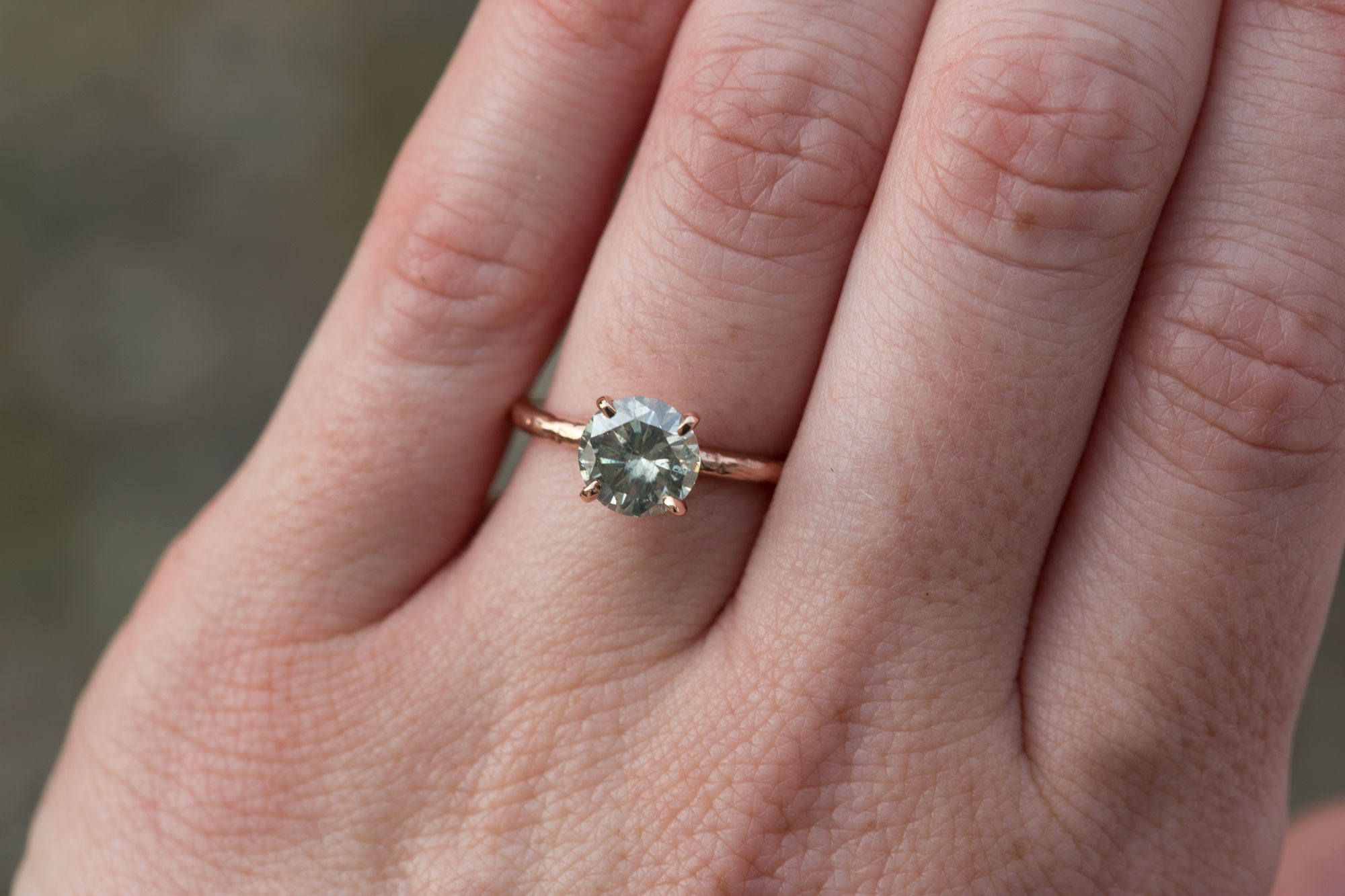 Grey Moissanite and Rose Gold Carved Solitaire Engagement Ring in ...