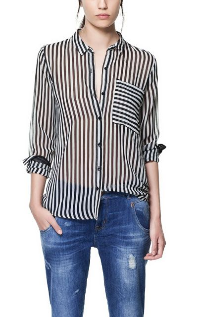 1403ff617b15 CAMISA RAYAS BOLSILLO 23 | MODA | Blusas de rayas, Camisa blanca y ...