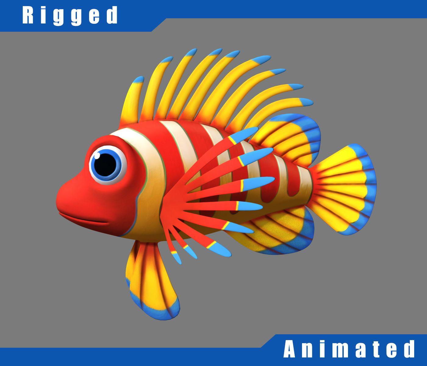 cartoon underwater scene rigged animated 3d model - HD1400×1200