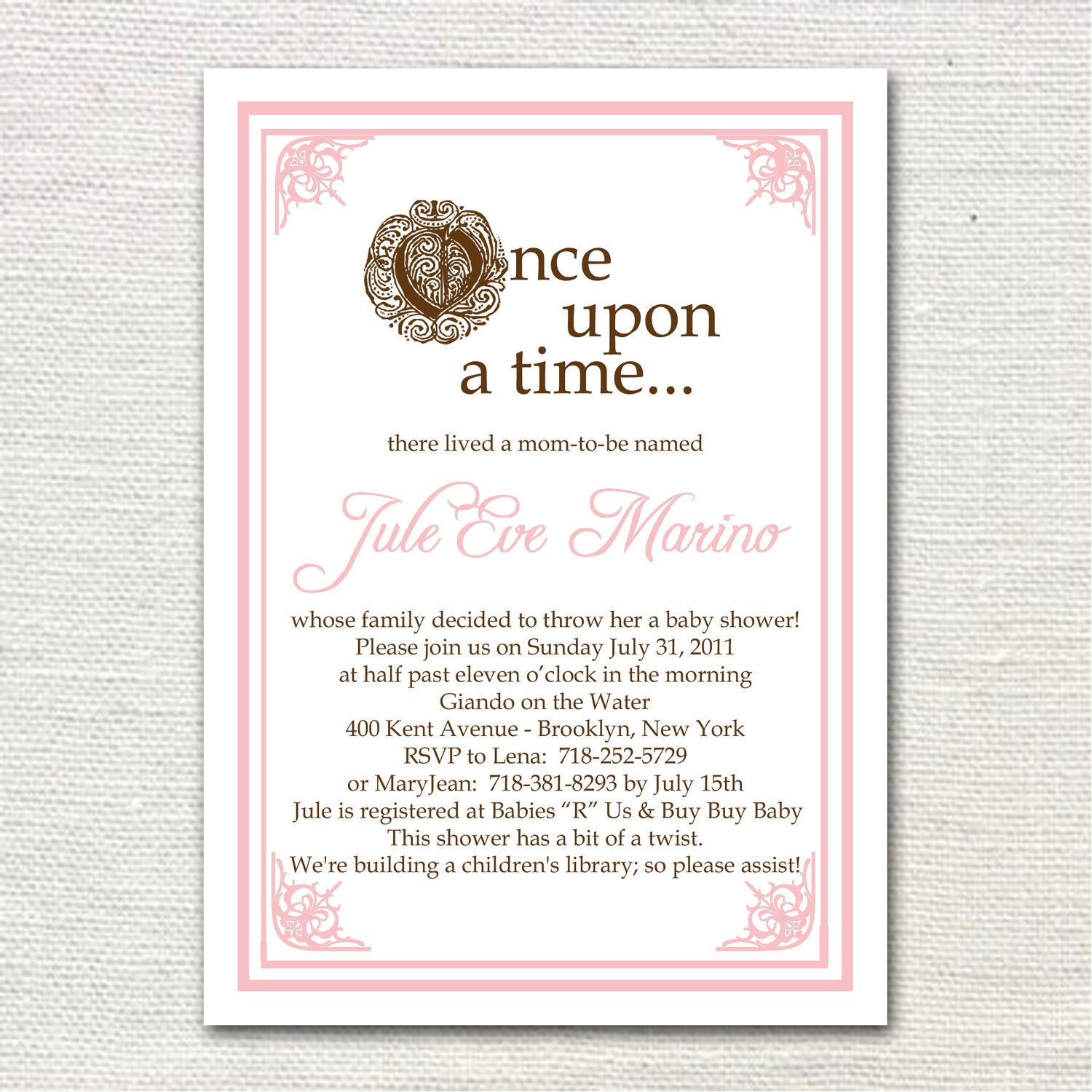 Once upon a Time Baby Shower Invitation. $1.50, via Etsy. | Hadley\'s ...