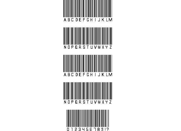 Barcode Font       (NOTE:  reduce to use on dollhouse items)