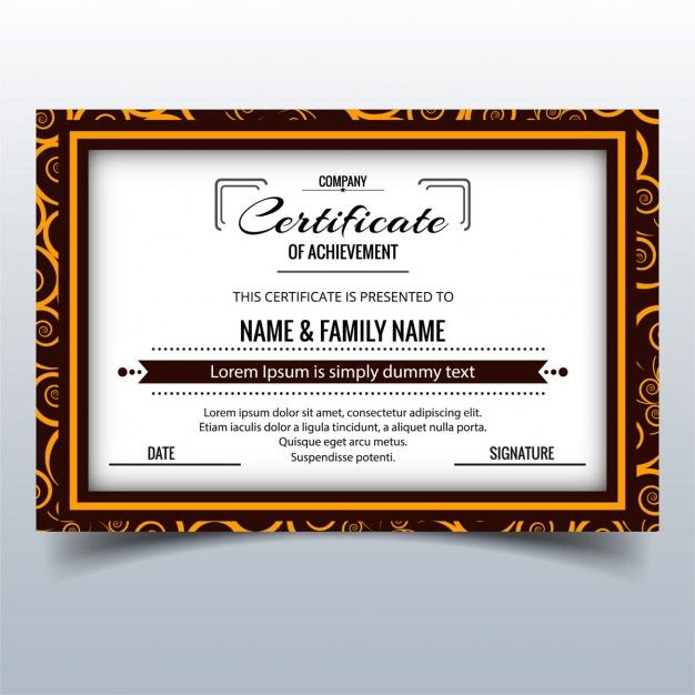 Certificate with an ornamental frame wwwfreepik Дизайн - free certificate of completion template