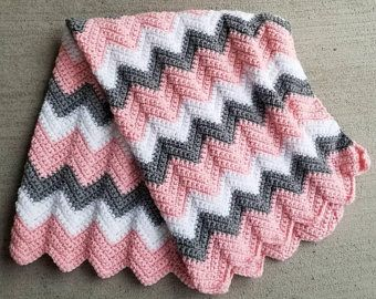 Photo of Pink Grey Baby Blanket, Pink Baby Blanket, Crochet Baby Blanket, Pink Crochet Afghan, Baby Afghan Pink Grey Blanket Crochet Blanket Handmade