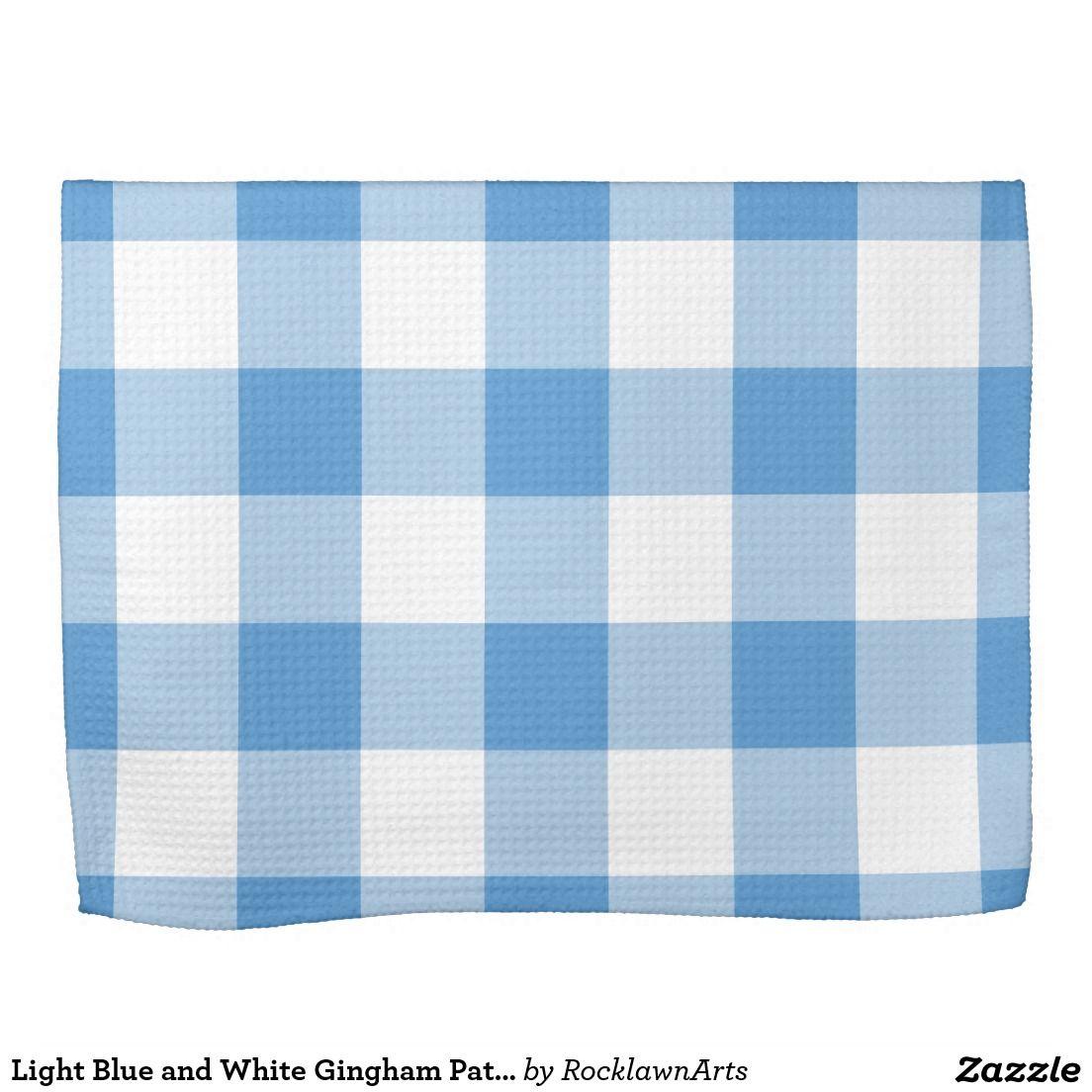 Light Blue And White Gingham Pattern Tea Towel Zazzle Co Uk