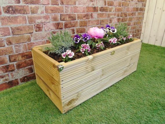 Extra Large 3 Layer Wooden Garden Decking Trough Planter 400 x 300