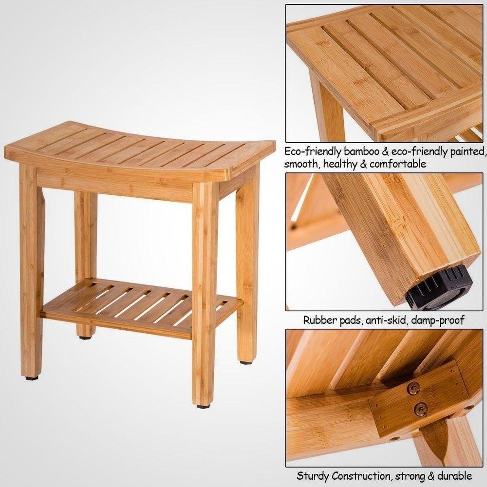 Bamboo Shower Seat Bench Bathroom Spa Bath Organizer Stool w/Storage ...