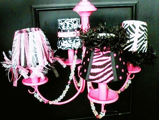 Zebra Chandelier With Mini Lamp Shades