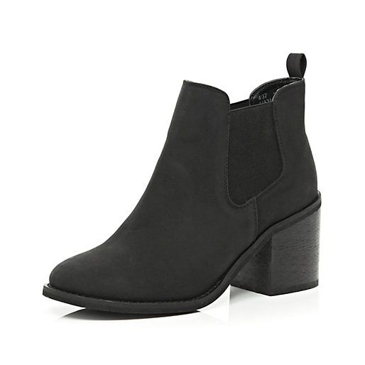 Black block heel Chelsea boots - ankle boots - shoes / boots - women · River  Island ...