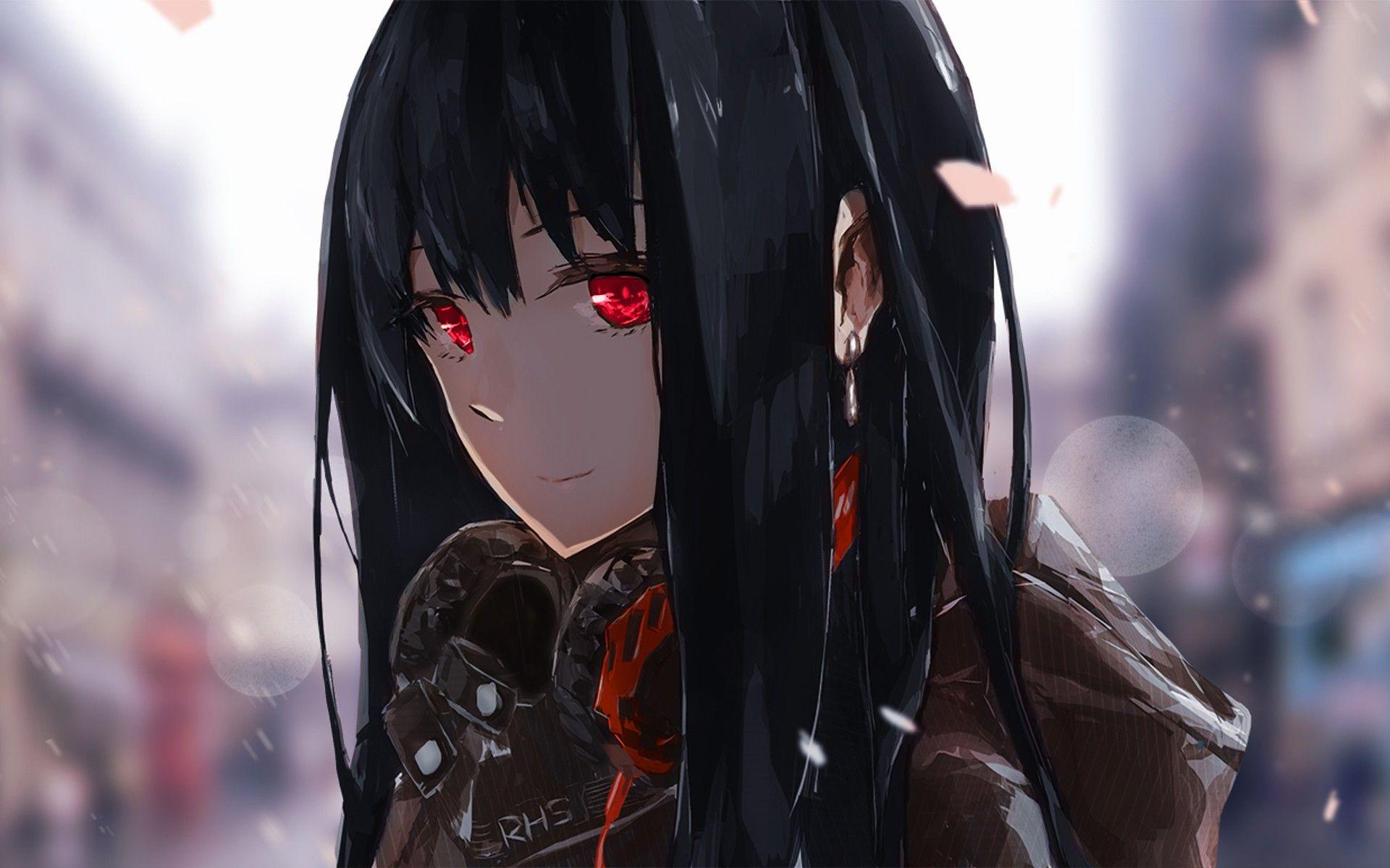 Anime Headphones Red Eyes Black Hair Anime Girls Happy The Idolm Ster Cinderella Girls Shibuya Rin Wallpaper No Gadis Animasi Gambar Animasi