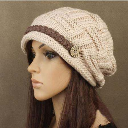 6bd923c996b96 A brand-new Hand made Crème-colored Beanie knit ski hat cap.