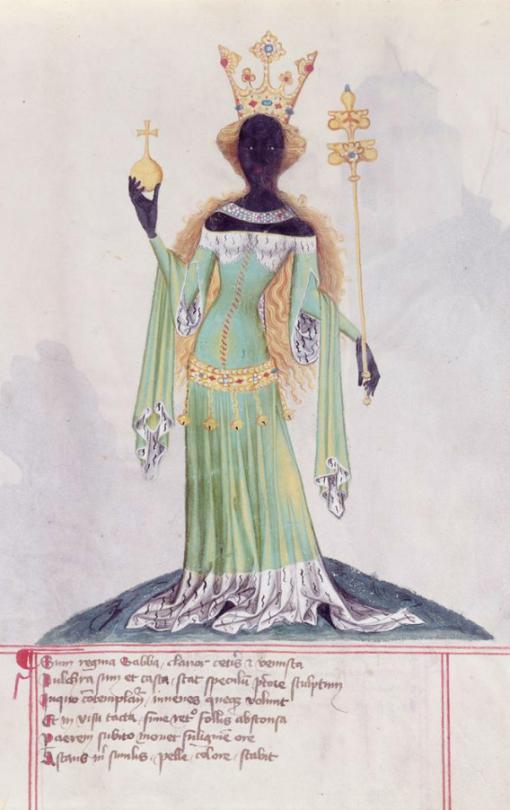 Conrad Kyeser, Bellifortis  fol. 122r: The Queen of Sheba  Bohemia, c. 1405  Niedersächsische Staats-und Universitätsbibliothek, Göttingen, Germany.