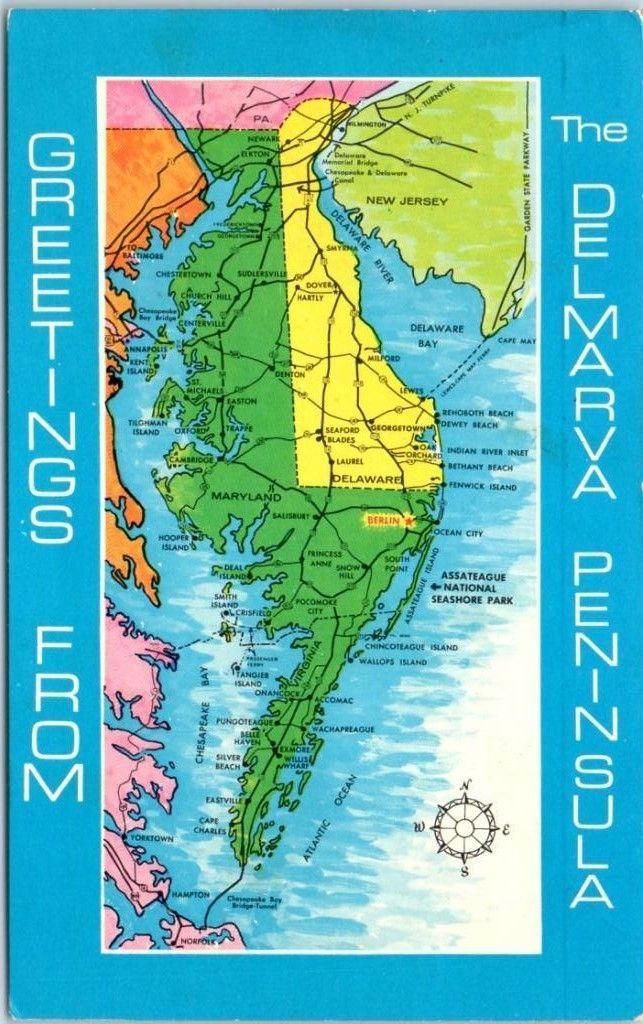 Map Of Virginia Coastal Towns.Map Of The Delmarva Peninsula Delaware Maps Delmarva Peninsula