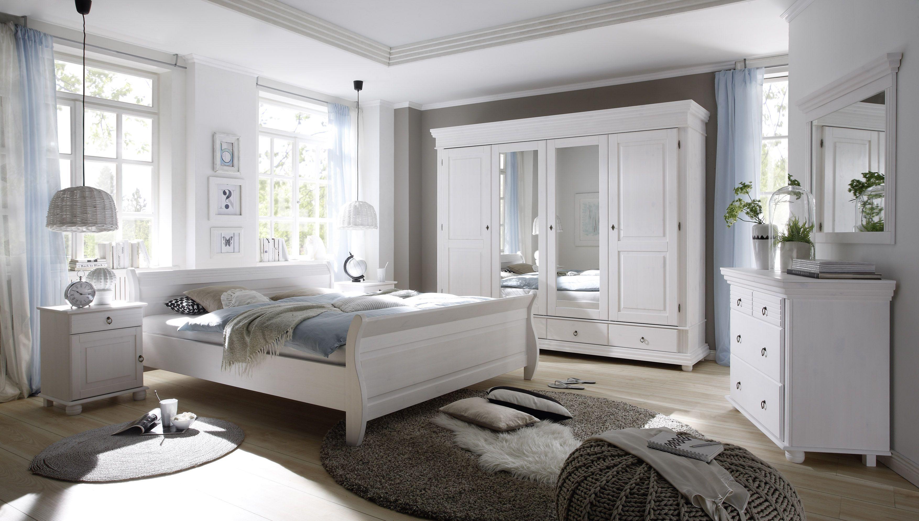 Fesselnd Schlafzimmer Mit Bett 180 X 200 Cm Massiv Kiefer Weiss Mit Maserung Woody  62 00184 Holz Landhaus Jetzt Bestellen Unter: ...