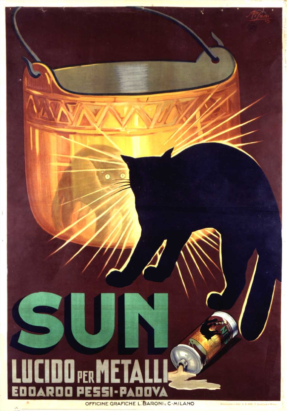 Cats in Art and Illustration: Poster for Sun metal polish, Italian ...