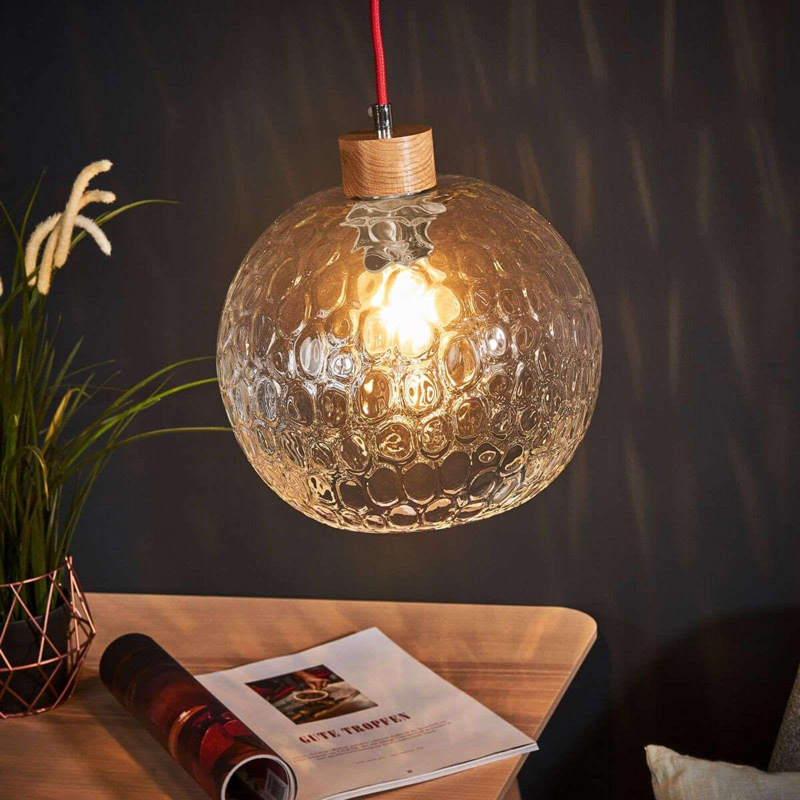 Hängelampe Svea, geprägt, Eiche natur, Kabel rot  Globe en verre