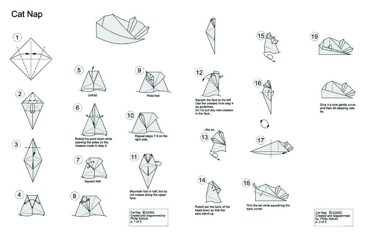 Archaiccomely Origami Cat Instructions Make An Origami