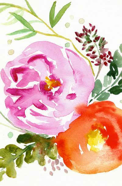 Eva - Watercolor Painting - Abstract Floral