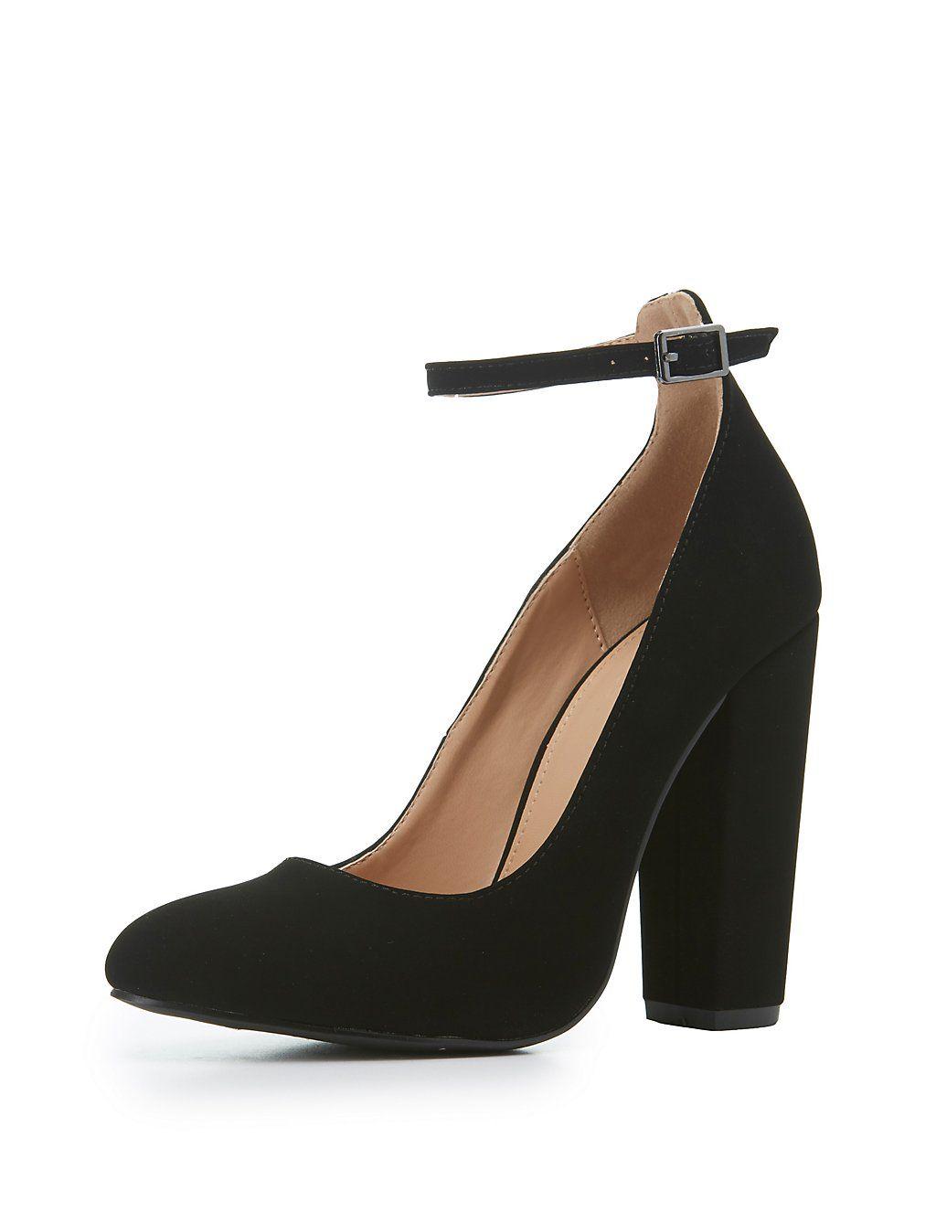 Ankle Strap Block Heel Pumps   Charlotte Russe