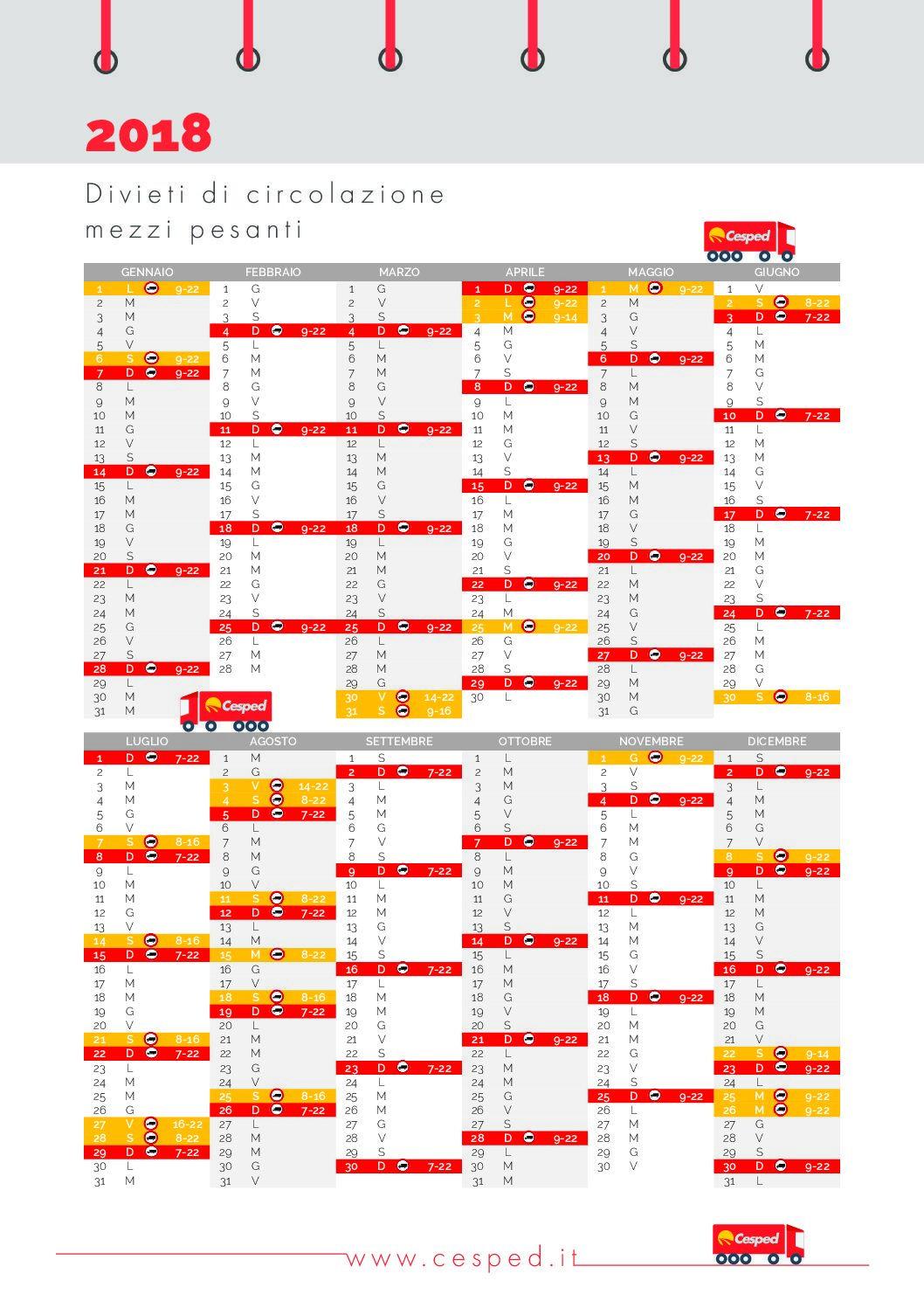 Calendario Divieto Circolazione Mezzi Pesanti.Calendario 2018 Divieti Di Circolazione Per Mezzi Pesanti