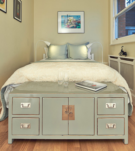 This credenza serves as a convenient bedside table, and also a great dresser and storage unit.