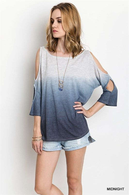 f5f4d5b4f62e14 Weekender Casual Ombre Fade Out Midnight Blue Cold Shoulder Peep Sleeve T  Shirt Top S M L
