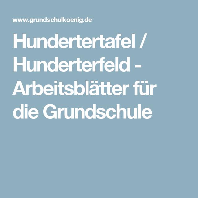 Hundertertafel / Hunderterfeld - Arbeitsblätter für die Grundschule ...