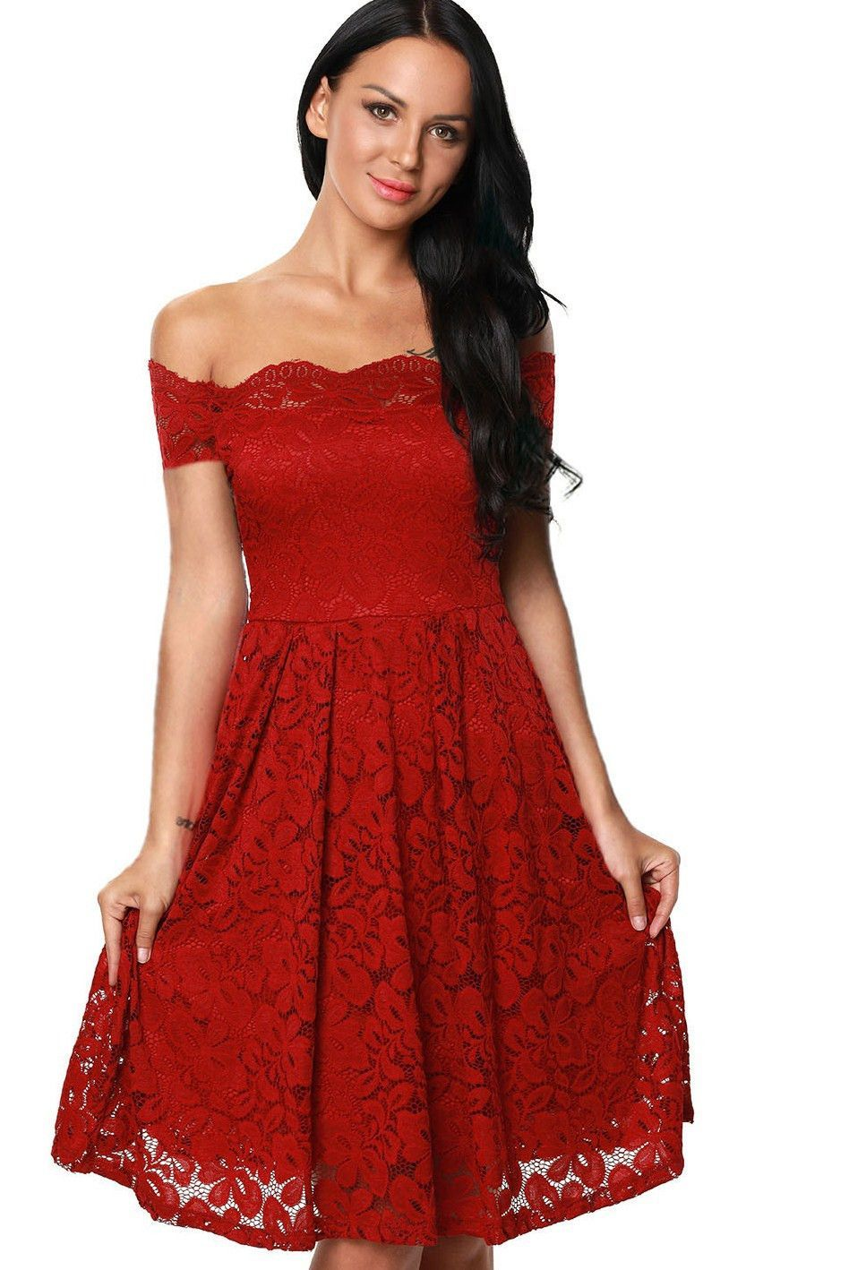 Burgundy scalloped off shoulder short sleeve lace flare dress lace