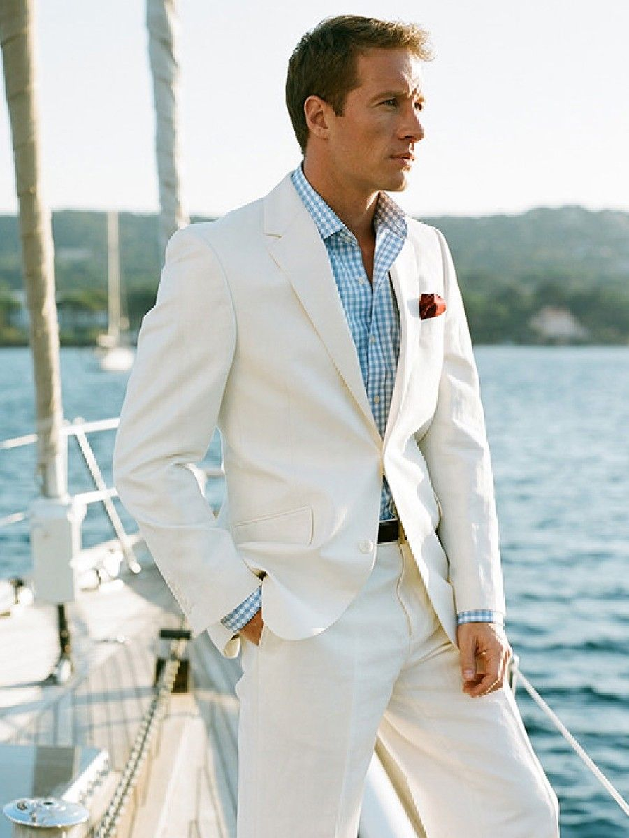 Groom S Ivory Linen Beach Wedding Suit For A Dress Code Grooms