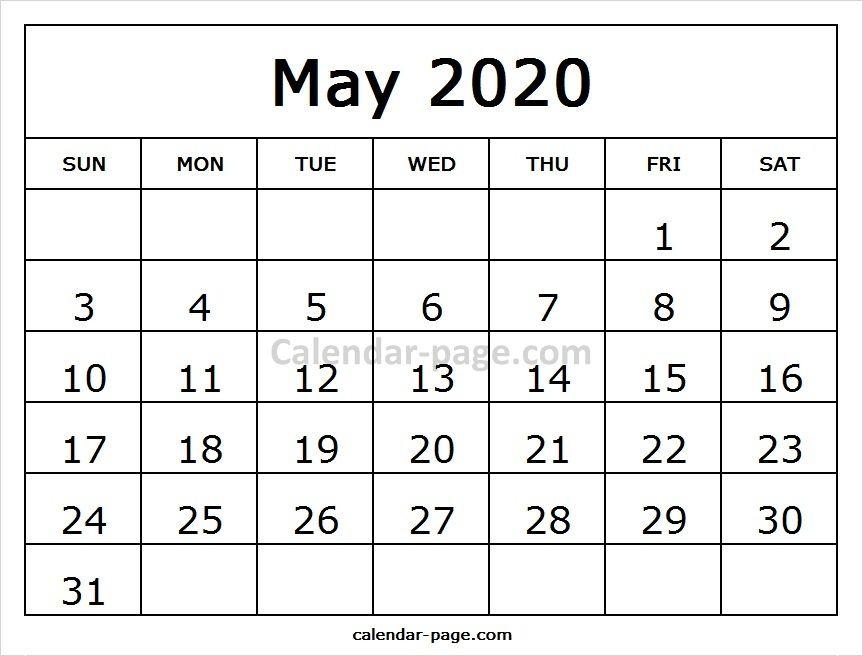 May Calendar 2020 Printable Template Blank Calendar Pinterest