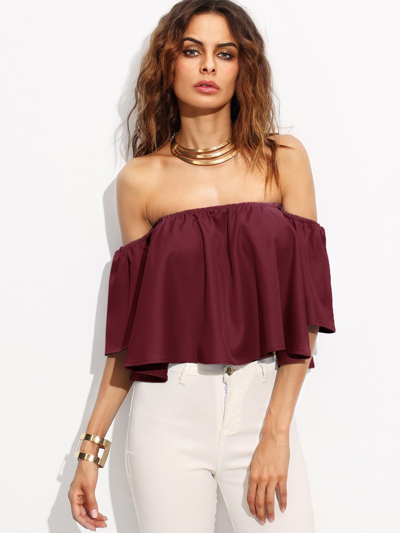f49805fb3fea Shop Burgundy Shirred Off The Shoulder Top online. SheIn offers Burgundy  Shirred Off The Shoulder Top   more to fit your fashionable needs.