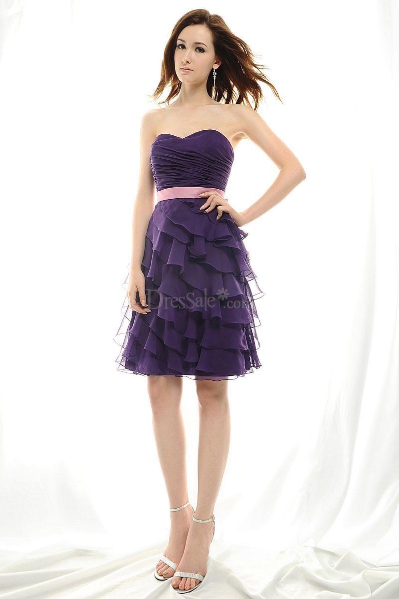 Regency short tiered junior bridesmaid dress with pink sash