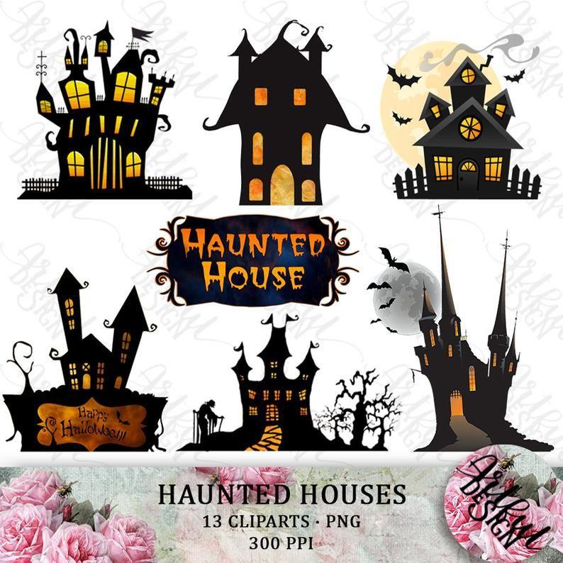 Halloween Clipart Haunted House Png Halloween Clip Art Png Etsy Halloween Clips Halloween Clipart Halloween Digital