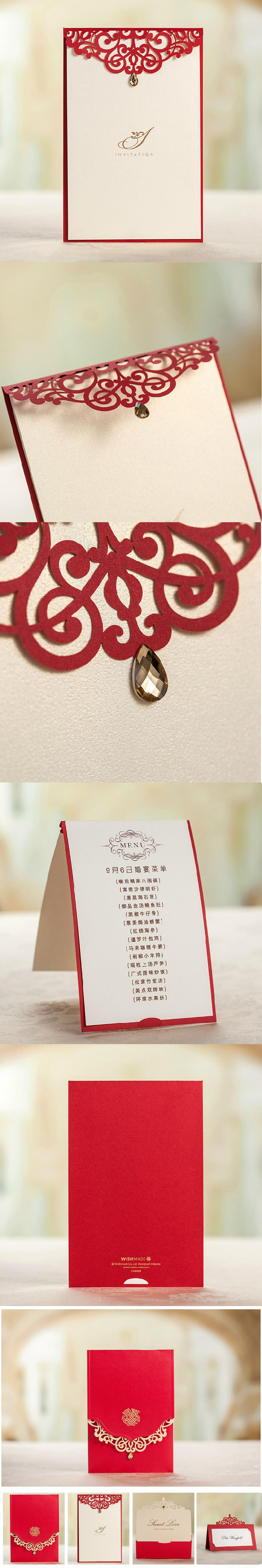 Royal Red Laser Cut Wedding Invitation and Menu Cards Free ...