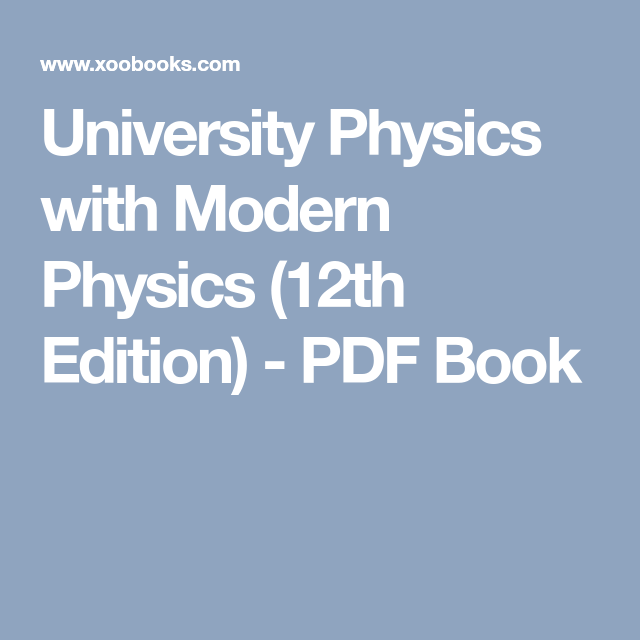 University Physics With Modern Physics 12th Edition Pdf