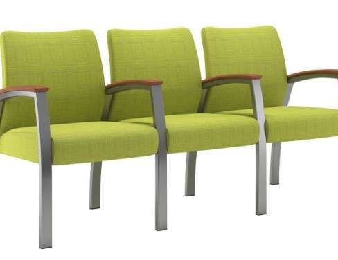 Foster Multiples Upholstered Triple With Full Arm Waiting room chairs for sale