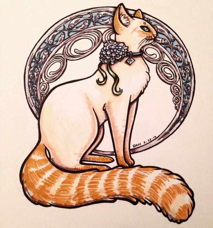 Nouveau Flame Point Siamese Cat marker drawing by Bree Manahan  Jugendstil Art Nouveau Flame Point Siamese Cat marker drawing by Bree Manahan  Jugendstil  Norwegian fores...
