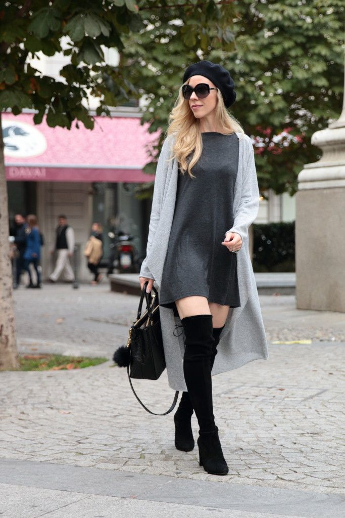 SheIn Giveaway: Trapeze dress, Long cardigan & OTK boots } | looks ...