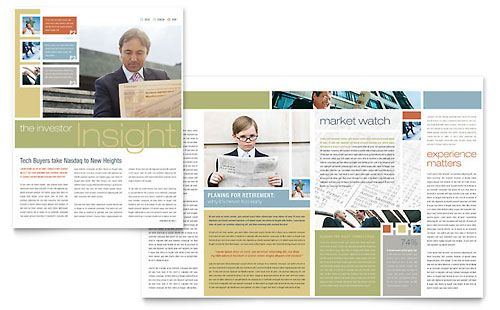 Again, like the use of colour and pictures Investment Advisor Newsletter Template Design | StockLayouts