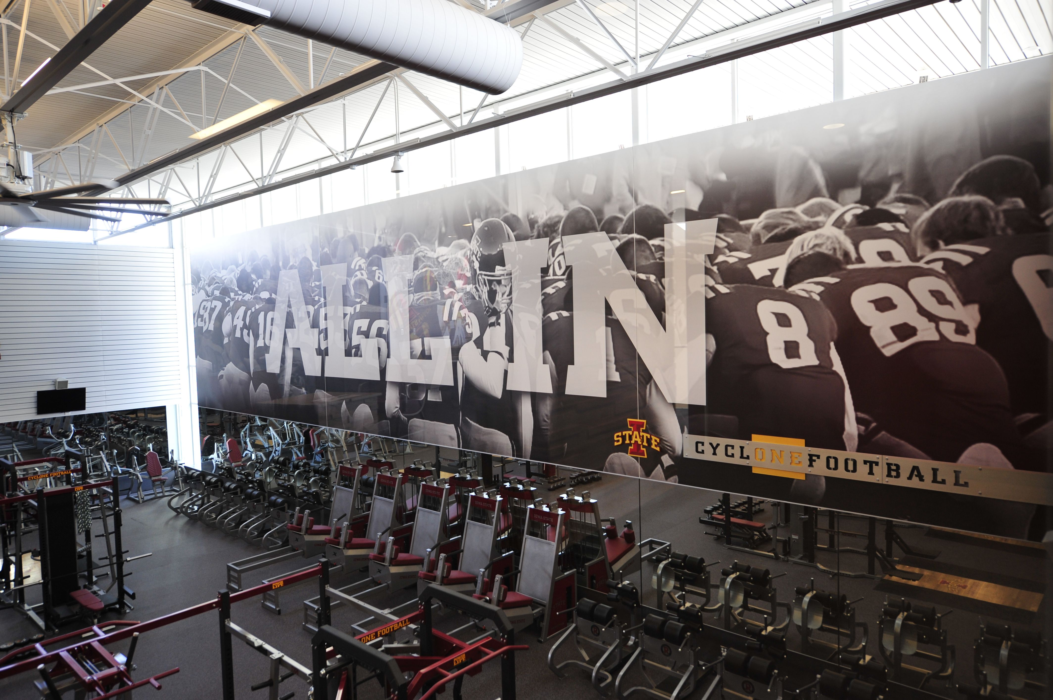 A View Of The Mural In The Weight Room Located In The Bergstrom Complex Cyclones Iowa State Mural Behind The Scenes