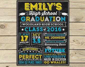 high school graduation chalkboard sign grade by chalkolatecake