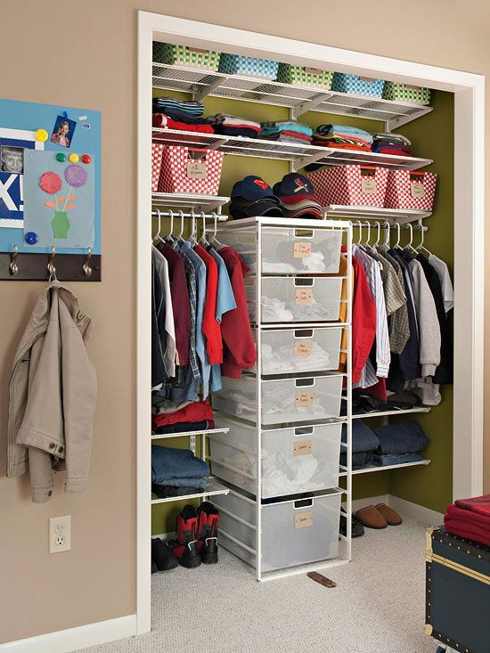 Organizing A Closet For Two (for Kids): Put A Tower Of Drawers In The  Center So Each Child Has Their Own Side. Assign Drawers/shelf Space/baskets  To Avoid ...