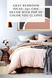 Gray Bedroom Ideas: 24 Chic Decor with Pop of Color Youll Love #graybedroomwithpopofcolor