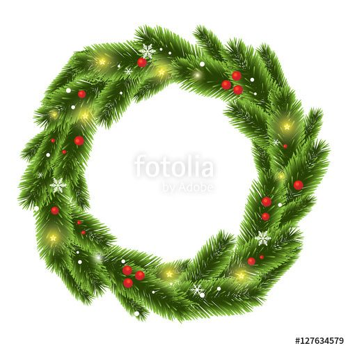 Christmas Tree Beautiful Wreath Vector Christmas Tree Border Frame Background Vector Pine Fir Illustration Branch White Xmas Green Nature Decorat