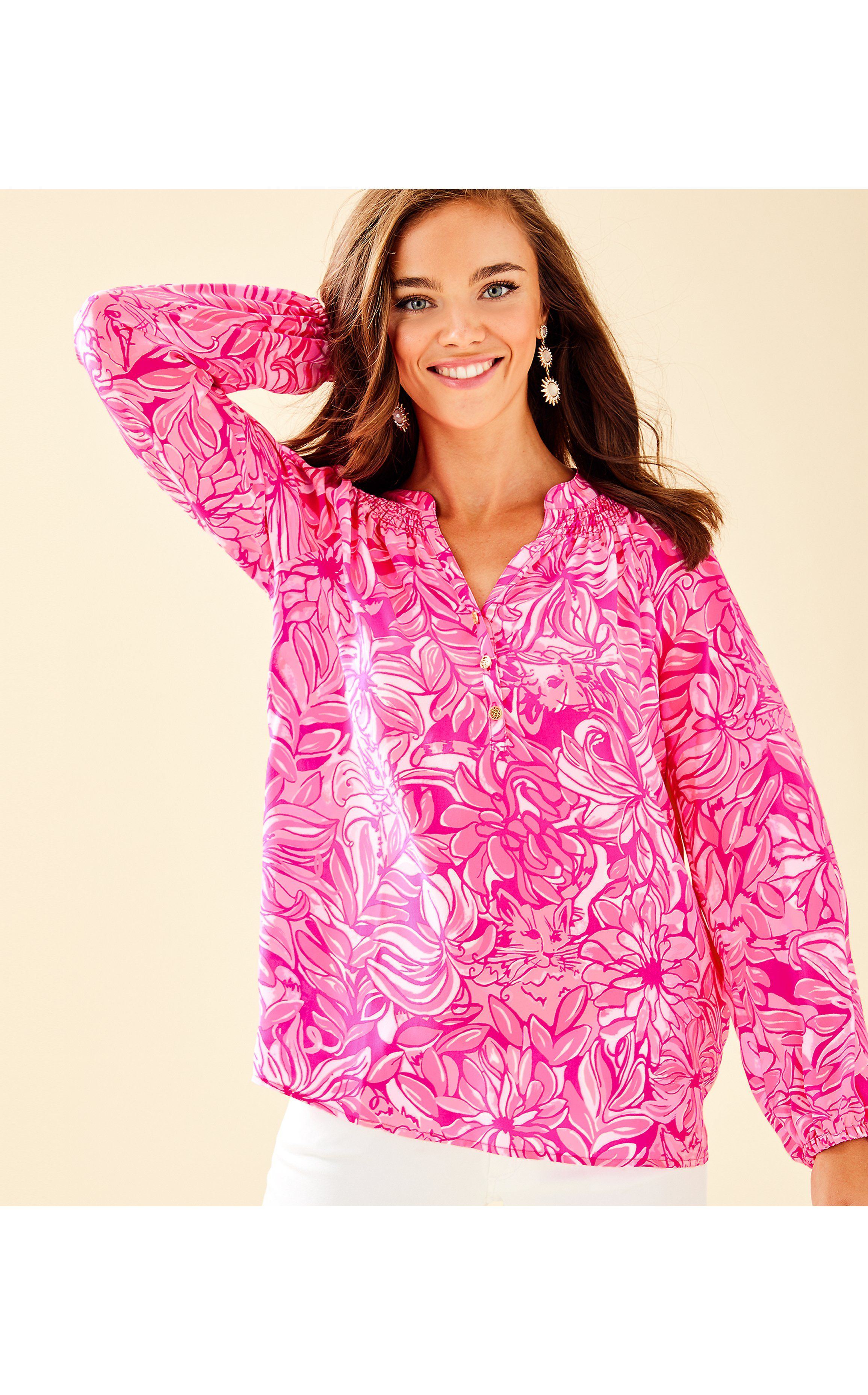 1a2467c2336c08 Elsa Top in Bougainvillea Pink Pawsitive Cattitude | Products | Silk ...